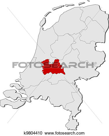 Clipart of Map of Netherlands, Utrecht highlighted k9804410.