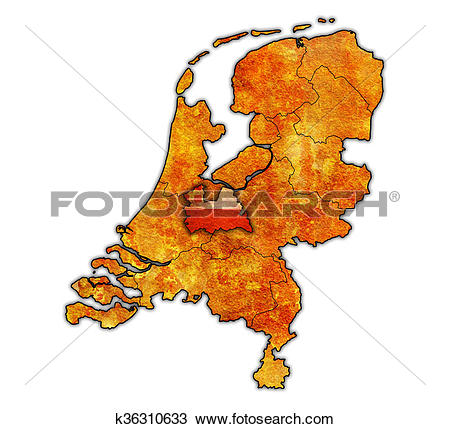 Drawing of utrecht on map of provinces of netherlands k36310633.