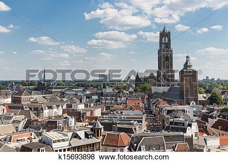 Pictures of Aerial cityscape of medieval city Utrecht, fourth city.