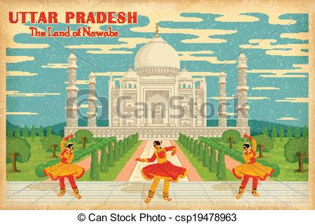 Clip Art Vector of Culture of Uttar Pradesh.