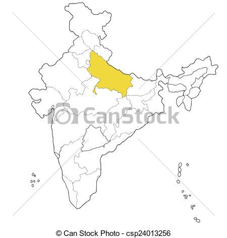 Clipart Vector of Uttar Pradesh.