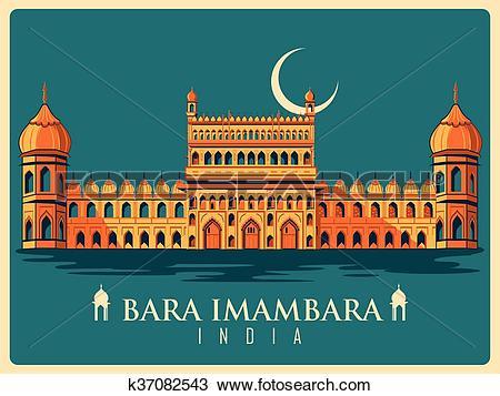 Clipart of Vintage poster of Bara Imambara in Uttar Pradesh famous.