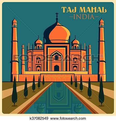 Clip Art of Vintage poster of Taj Mahal in Uttar Pradesh famous.