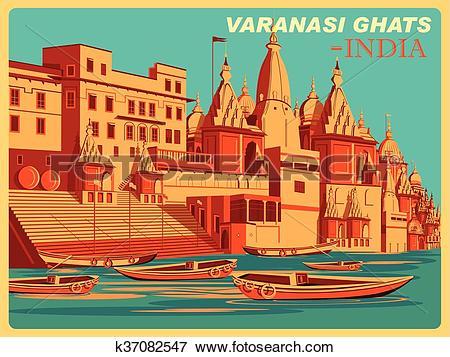 Clip Art of Vintage poster of Varanasi Ghats of Uttar Pradesh.