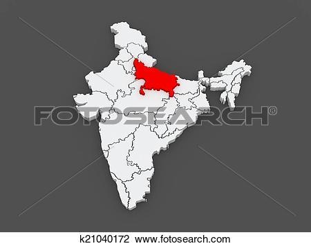Clip Art of Map of Uttar Pradesh. India. k21040172.