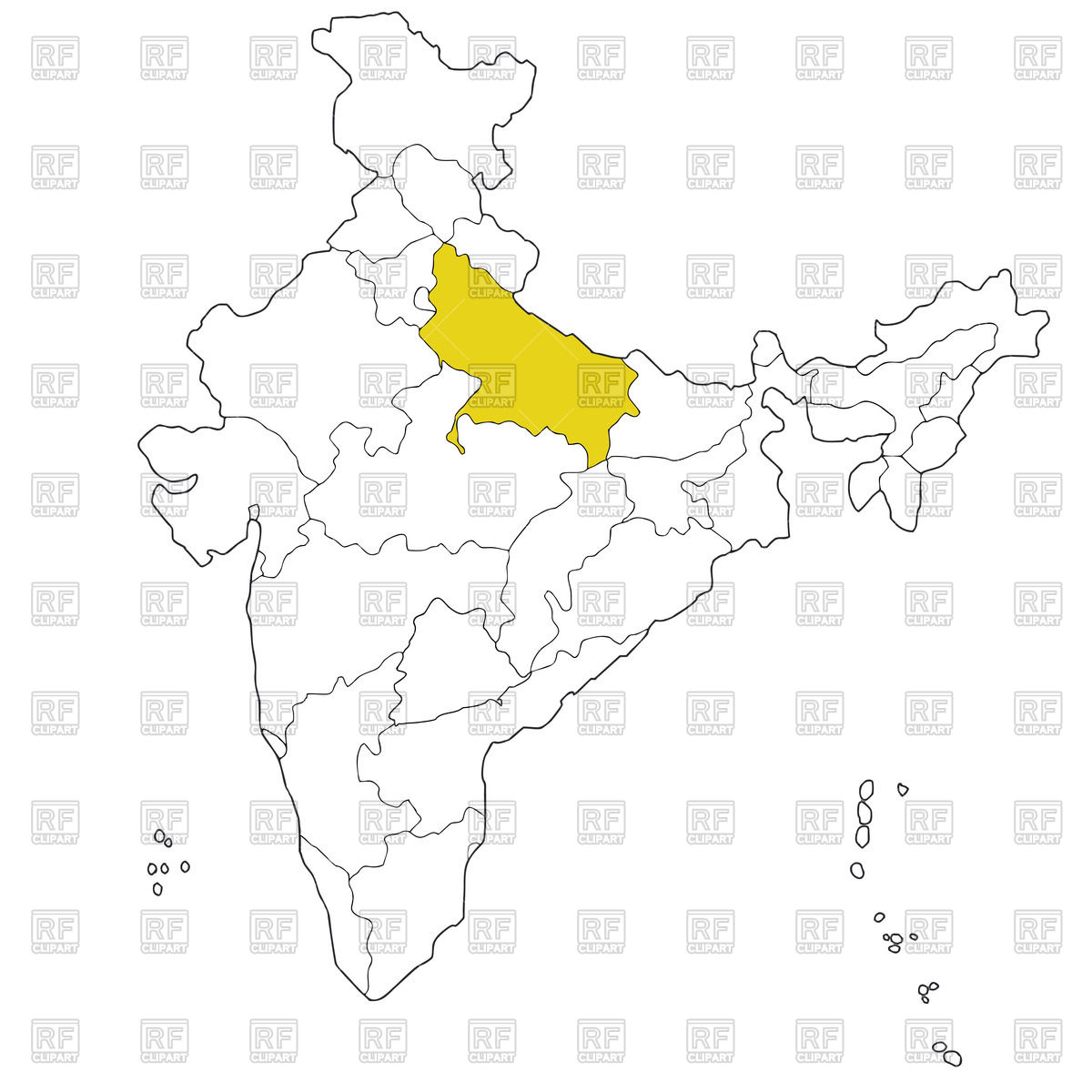 Northern state Uttar Pradesh on the map of India Vector Image.