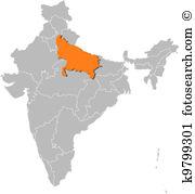 Uttar pradesh map vector Clipart EPS Images. 8 uttar pradesh map.