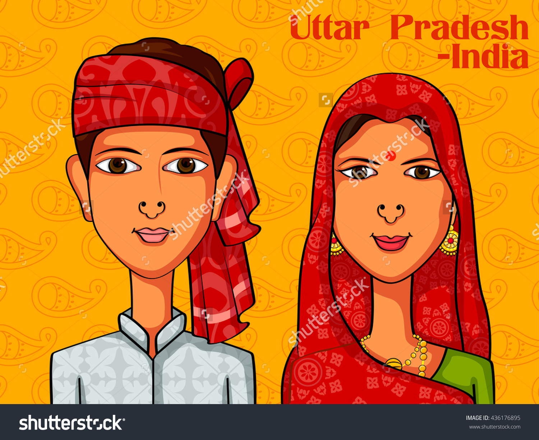 Vector Design Uttarpradeshiuttarpradeshi Couple Traditional.