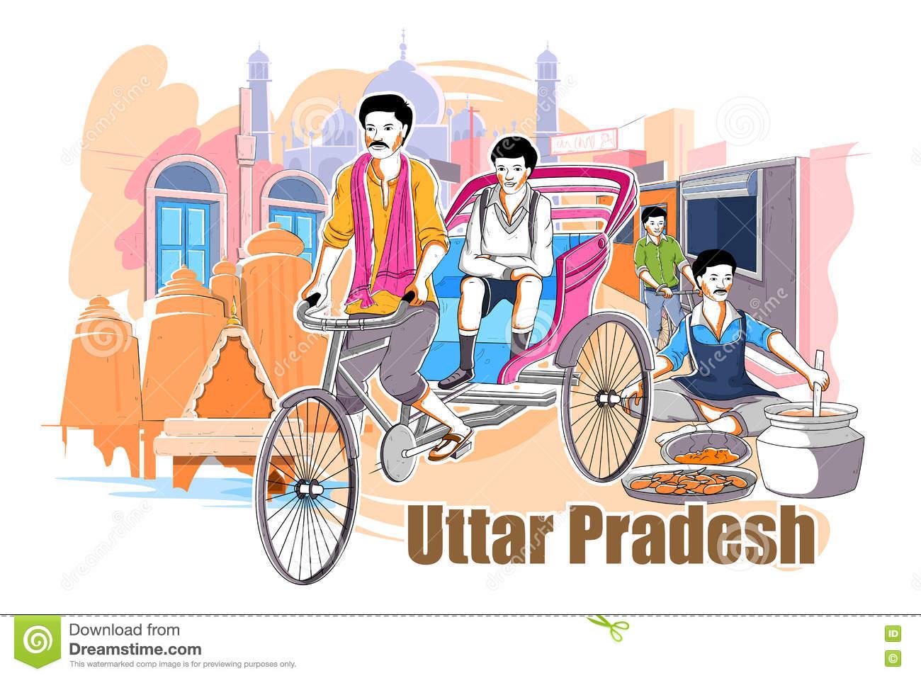 Culture Of Uttar Pradesh Stock Illustration.