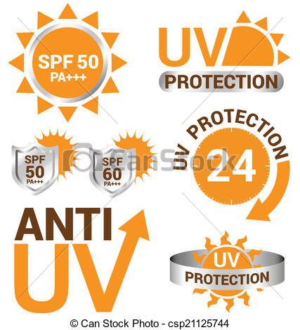 EPS Vector of Set of UV Sun Protection and anti uv vector.
