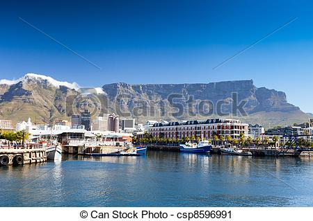 Stock Photography of cape town v&a waterfront and table mountain.
