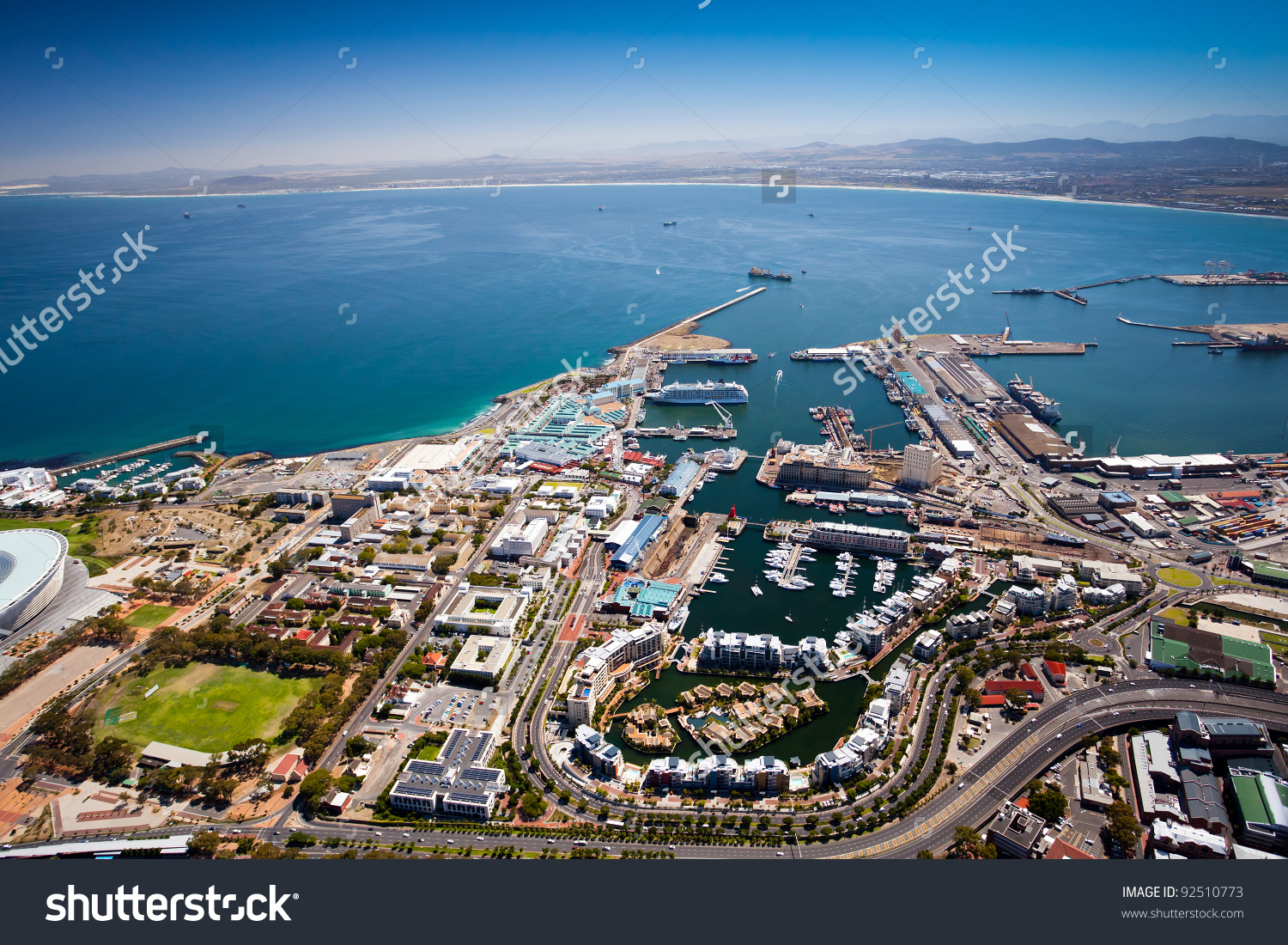 Aerial View Of Cape Town Harbor And V&A Waterfront Stock Photo.
