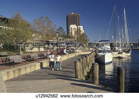 Stock Photo of waterfront, Norfolk, VA, Hampton Roads, Virginia.