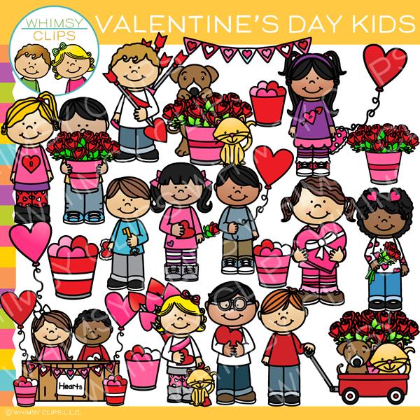 Cute Valentine\'s Day Kids Clip Art.
