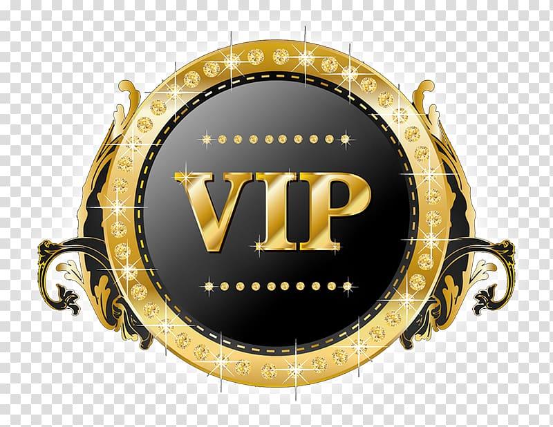 Gold and black VIP badge, Logo Computer Servers, VIP.