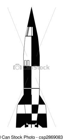 Vectors of V2 German World War 2 Rocket over a white background.