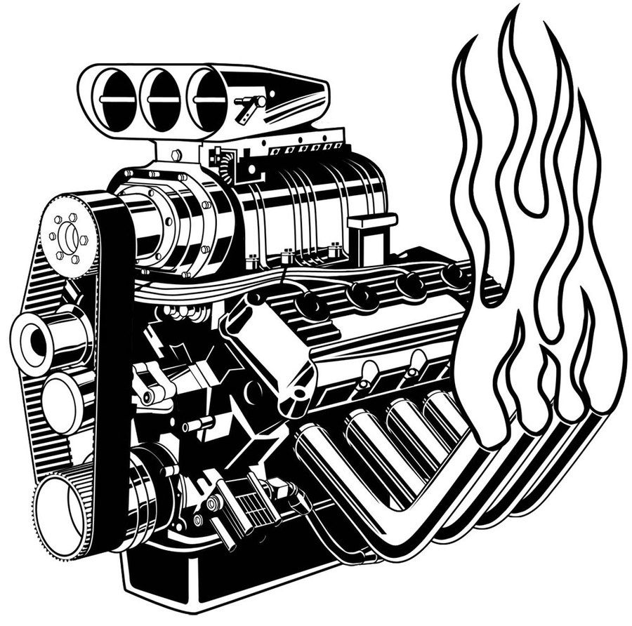 Download v8 engine drawing clipart Chevrolet Car Drawing.