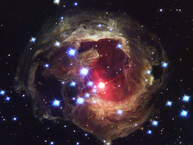 Hubble Space Telescope Image of Nebula and Star V838 Monocerotis.
