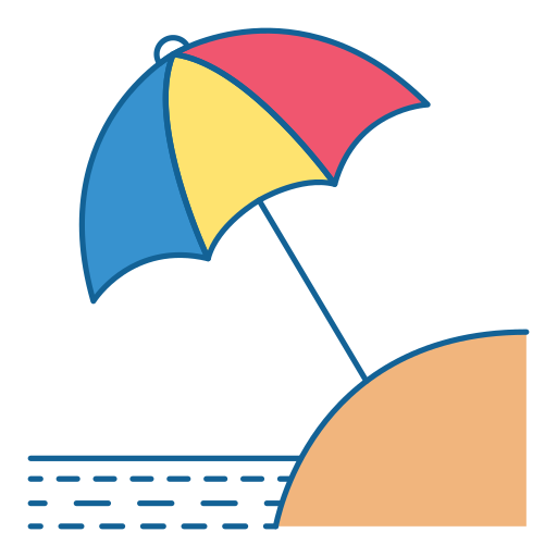 Icono De viaje, vacaciones, vacaciones, paraguas, playa.