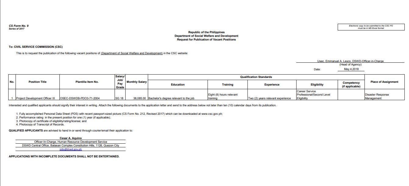 Government Job Vacancies: Department of Social Welfare and.