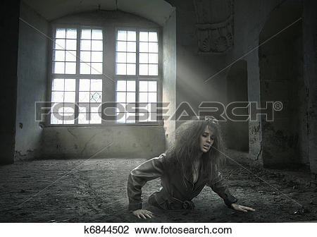 Stock Photo of lost woman in the vacated room k6844502.