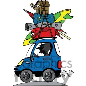 vacation travel clipart luggage stacked on roof of car.