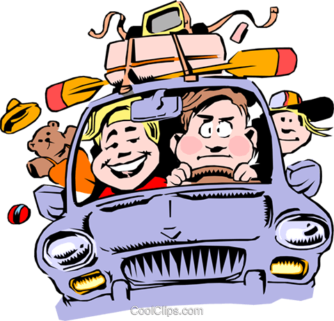 Cartoon family vacation Royalty Free Vector Clip Art.
