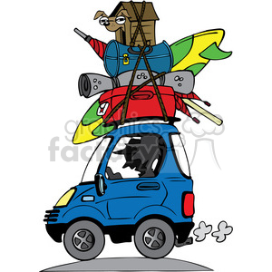 vacation travel clipart luggage stacked on roof of car . Royalty.
