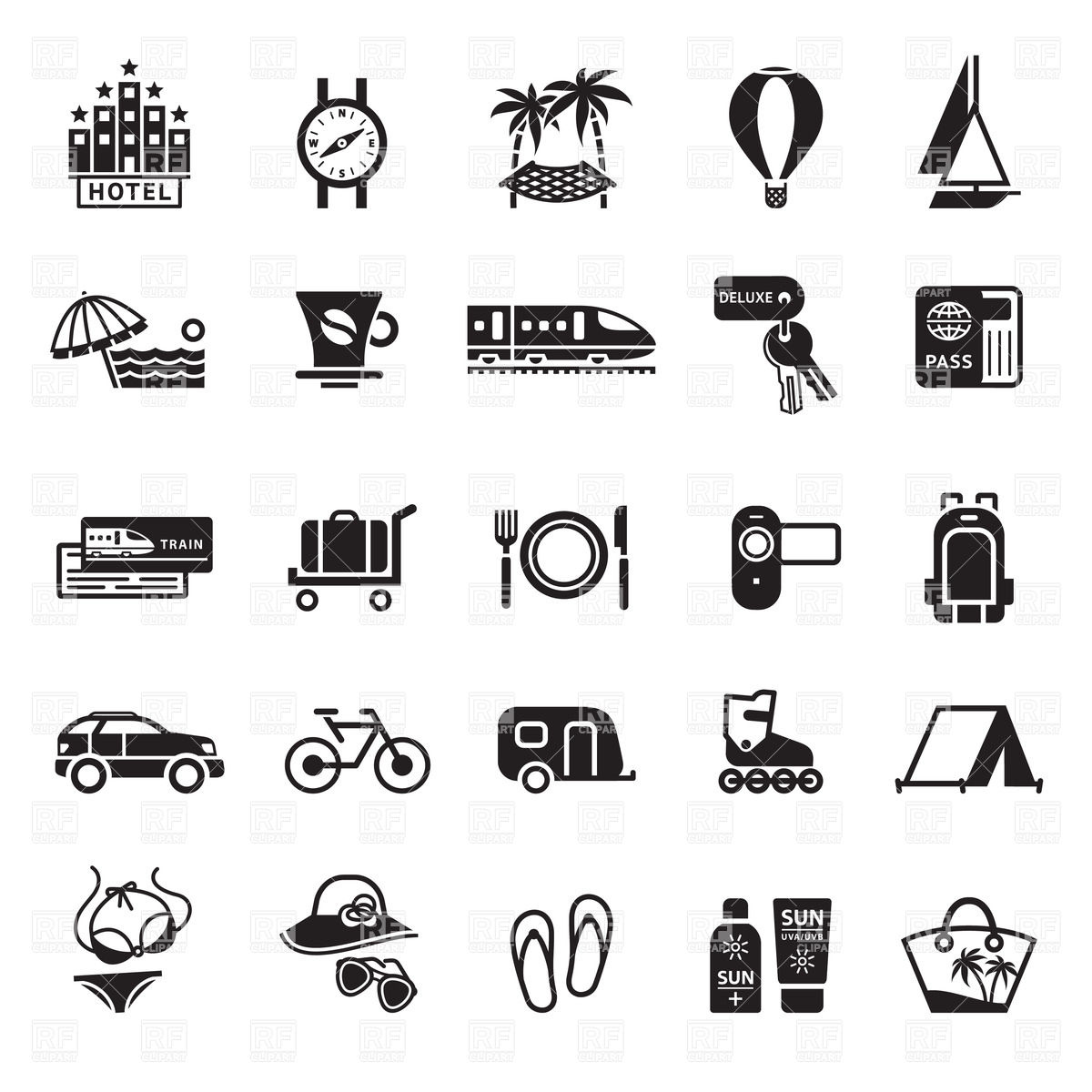 Vacation Icons Clipart.