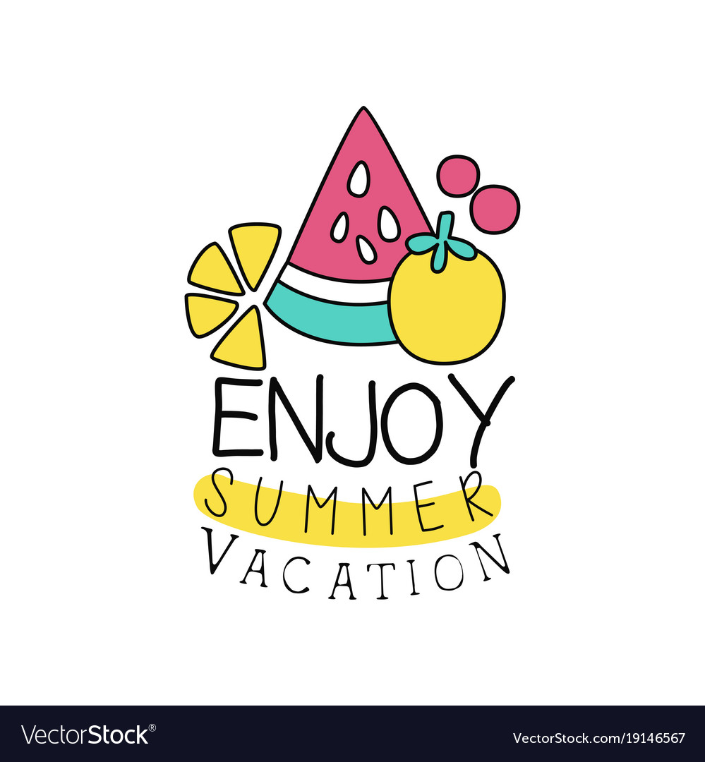 Summer vacation logo with abstract fruits kids.