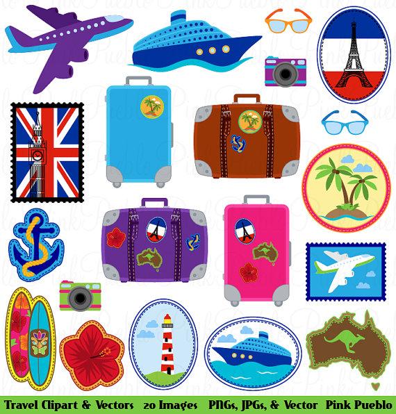 Travel Clipart Clip Art, Vacation Beach Clipart Clip Art Vectors.