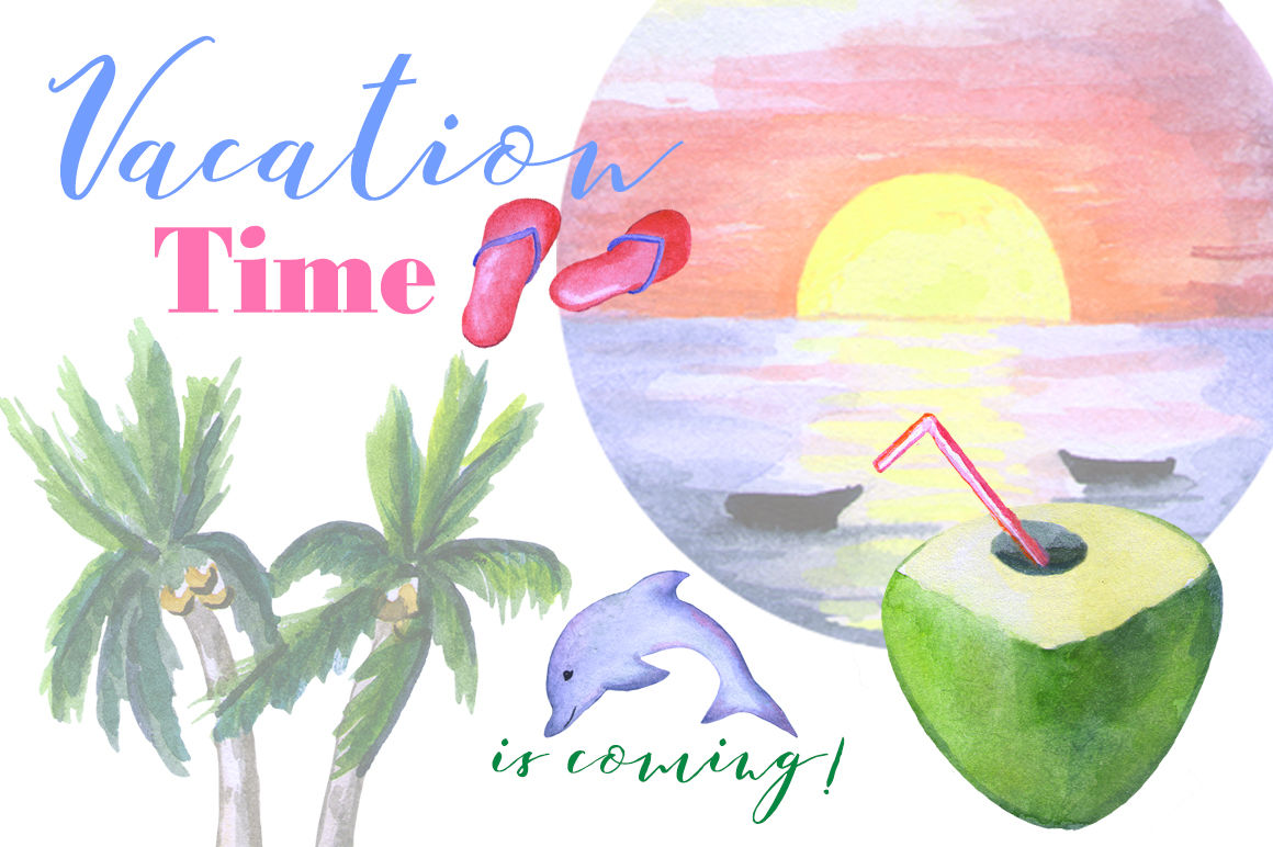 Vacation Time Watercolor Clipart By Rabbit And Pencil.
