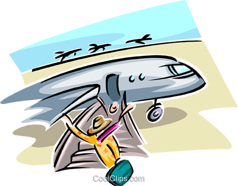 vacationers leaving plane Royalty Free Vector Clip Art.