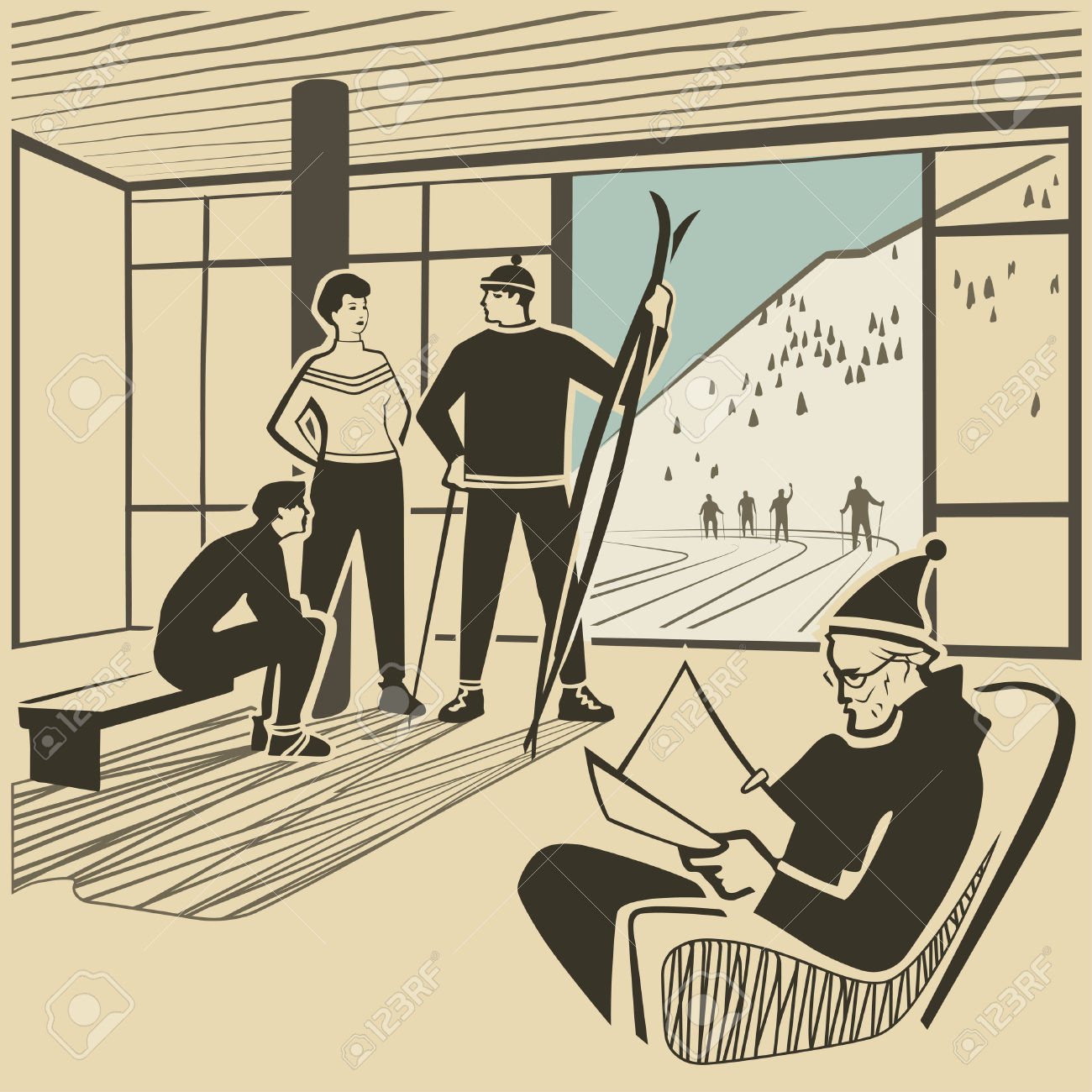 Vacationists In Hotel Lobby At The Ski Resort Vector Illustration.