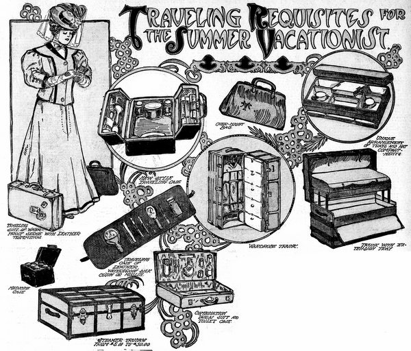 Traveling requisites for the summer vacationist (1906).