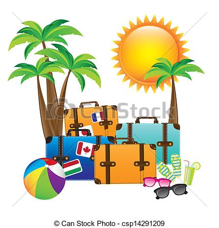 Vector Clipart of summer vacations.
