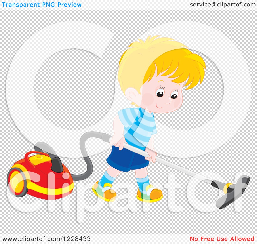 Clipart of a Blond Caucasian Boy Using a Canister Vacuum.