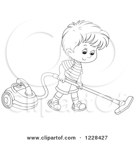 Clipart of a Blond Boy Using a Canister Vacuum.