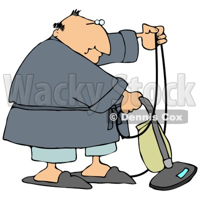 Man In A Robe, Pjs And Slippers, Using A Vacuum To Clean His.
