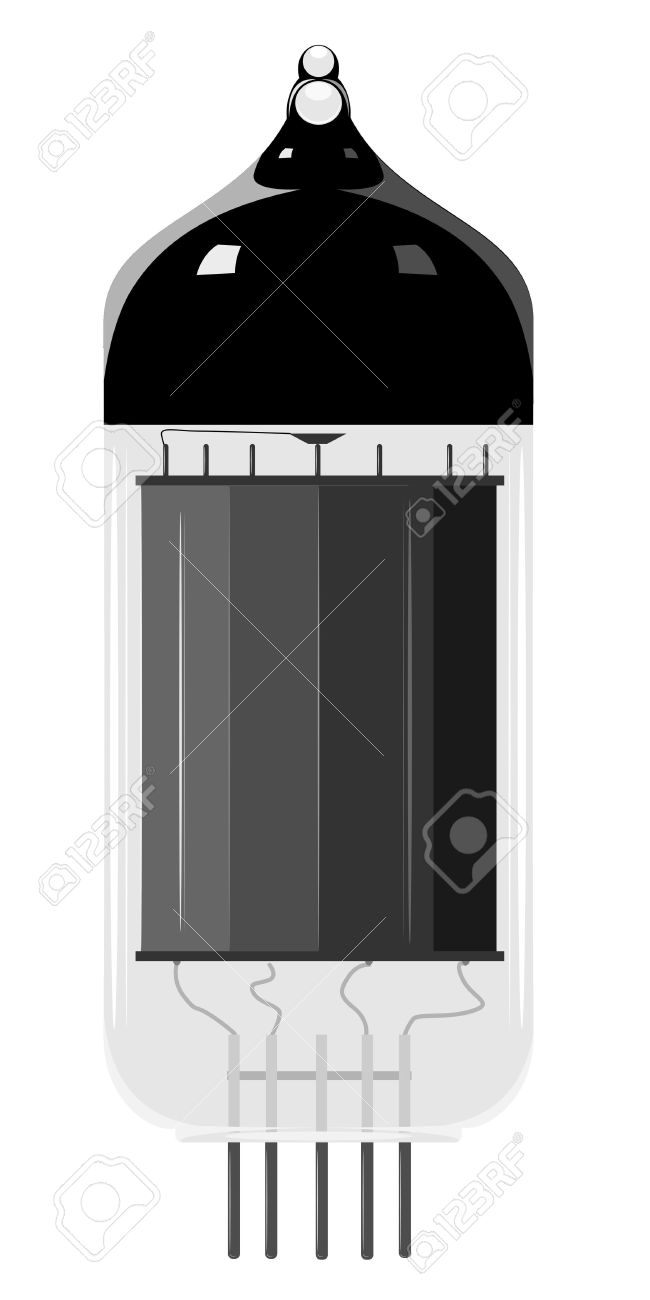 Vector Illustration Of An Old Vacuum Tube. EPS10 Royalty Free.