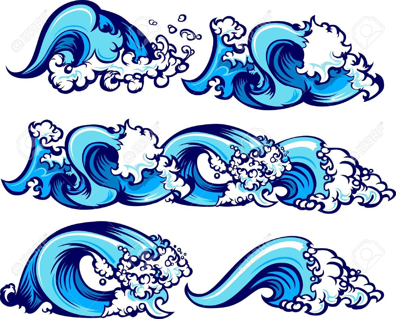 Vagues D'images Graphiques De L'eau Clip Art Libres De Droits.