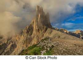 Stock Photography of Vajolet Towers in Dolomites. Val di Fassa.