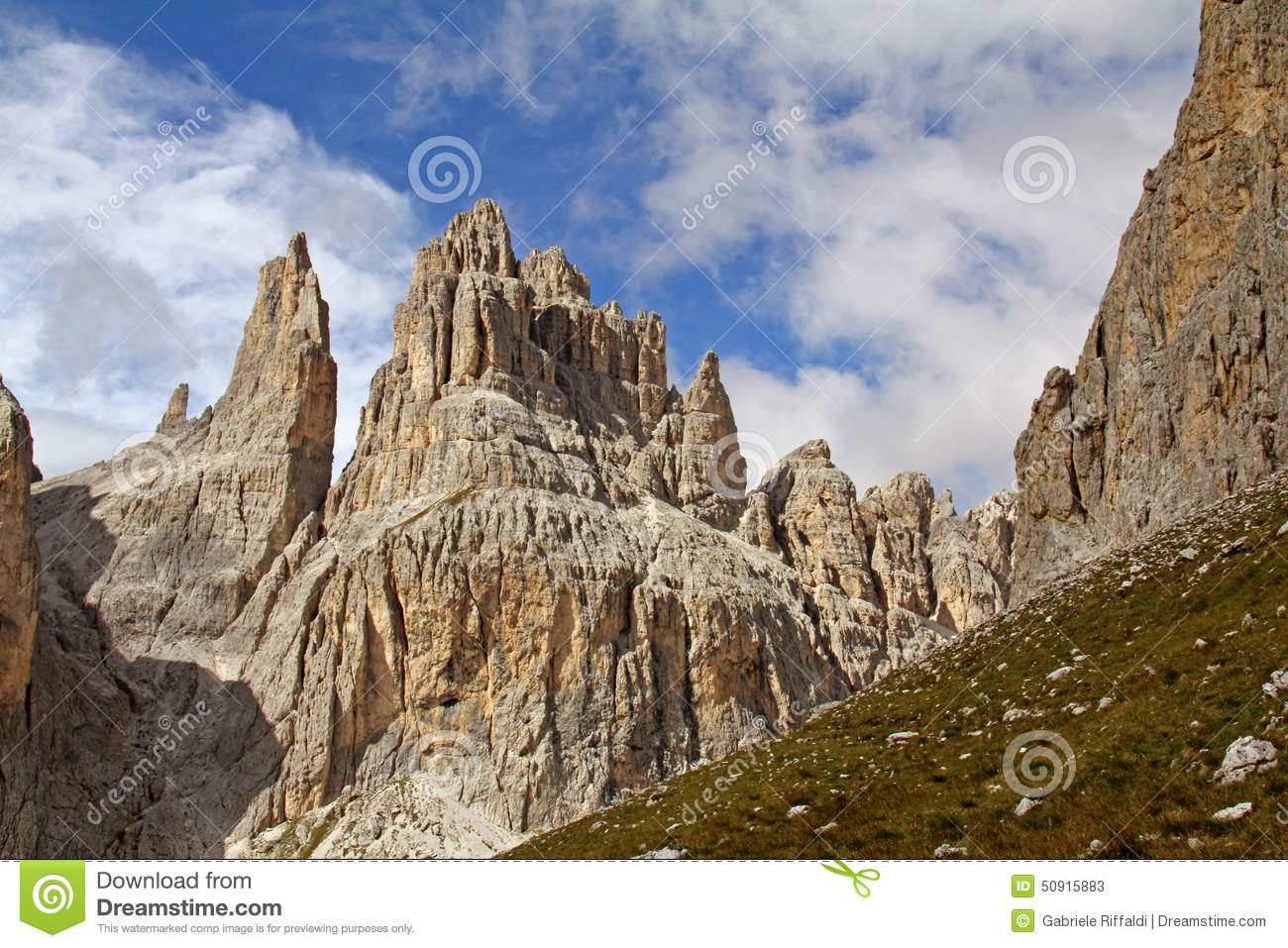 Vajolet Towers (Catinaccio Group) Stock Photo.