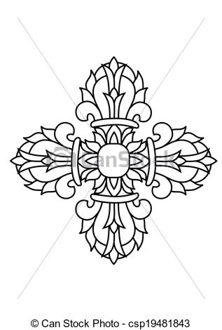 EPS Vector of Sacred buddhist religious symbol.