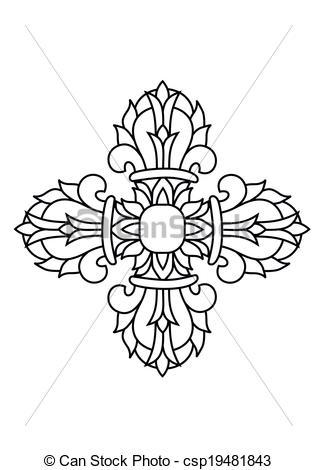 EPS Vector of Sacred buddhist religious symbol.