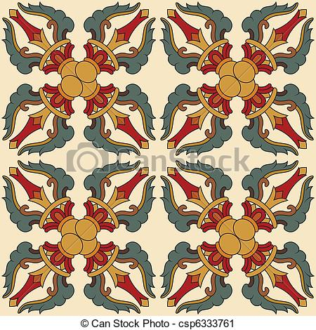Vector Clip Art of Seamless Vajra tibetan pattern multicolored.