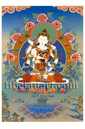 Vajrasattva And Consort Postcard by Chewang Dorje.