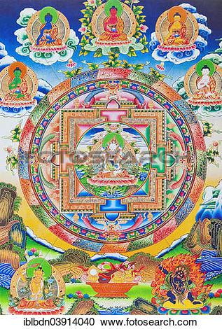 "Stock Photography of ""Vajrasattva, Mandala, depicting the self."