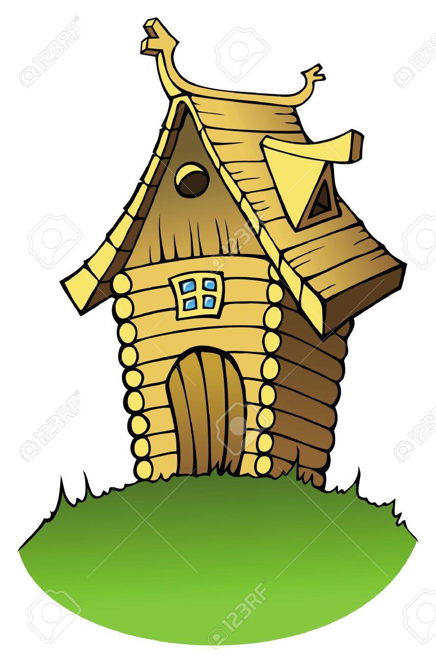 Houten Huis Of Vakantiehuis In Cartoon.