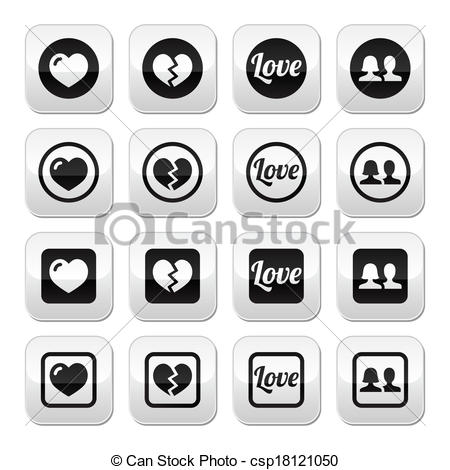 Clipart Vector of Love, heart, couple buttons for Val.